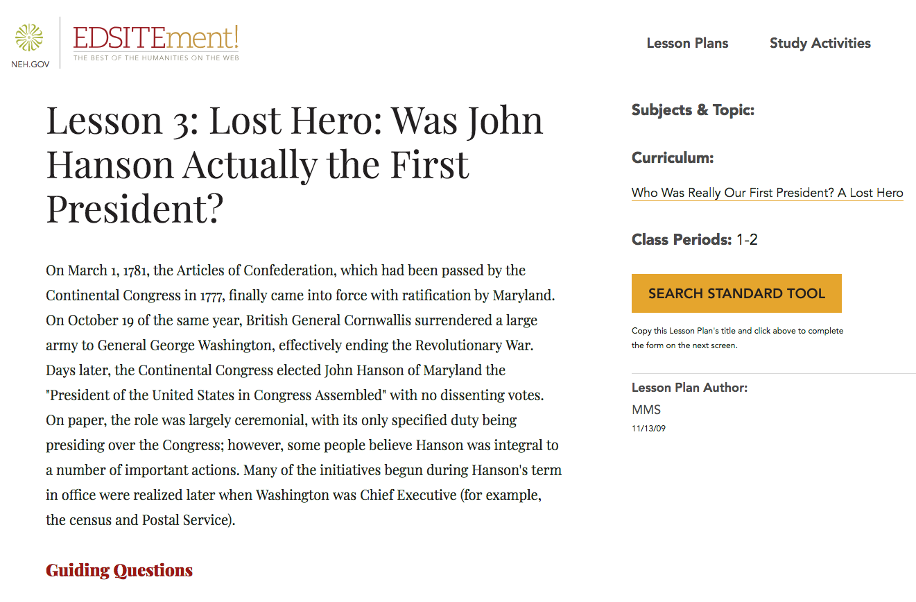 Lost Hero: Was John Hanson Actually the First President? Lesson Plan