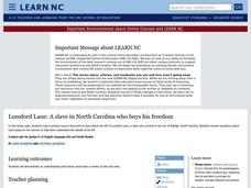Lunsford Lane: A slave in North Carolina who buys his freedom Lesson Plan