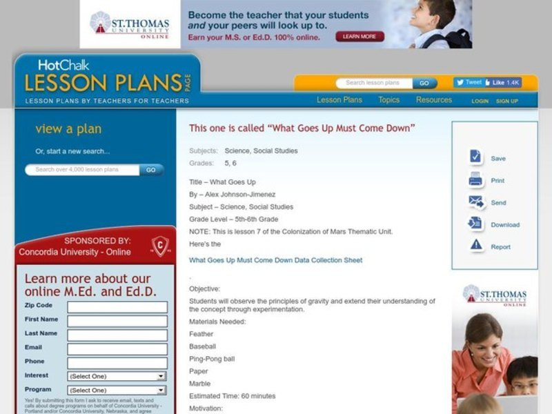 What Goes Up Must Come Down Lesson Plan