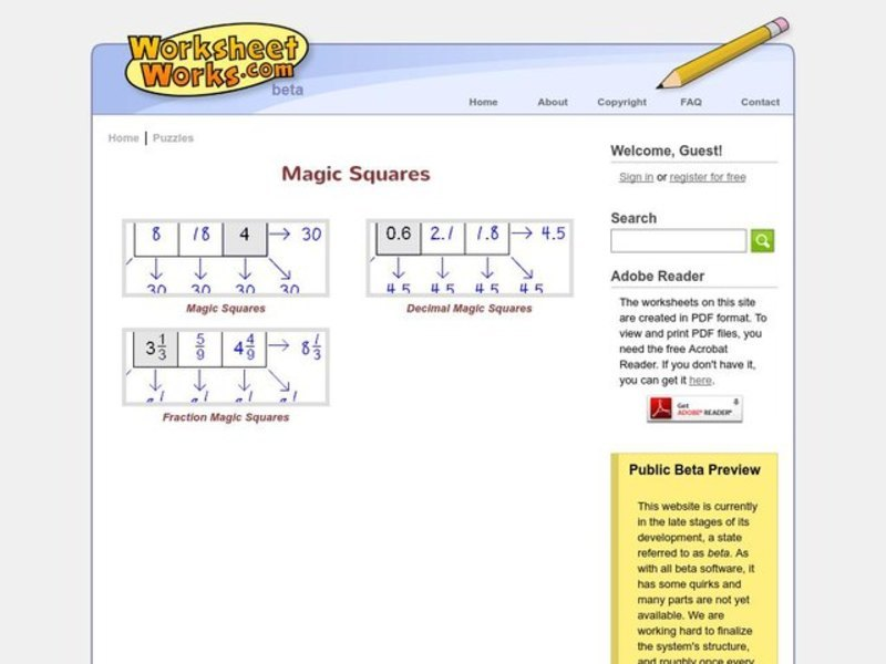 Magic Squares Worksheet