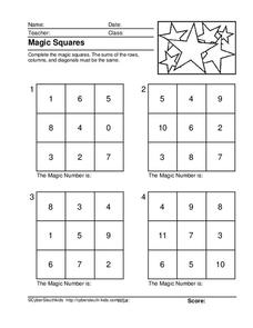 Magic Squares Lesson Plans & Worksheets Reviewed by Teachers