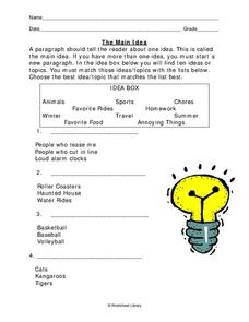 Main Idea Worksheet