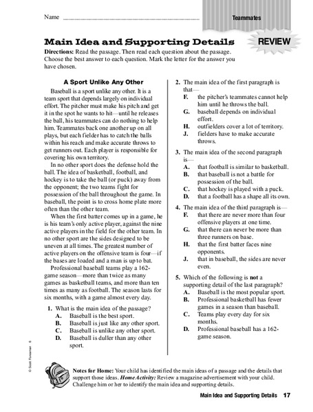 Main Idea And Supporting Details Worksheet For 4th 6th