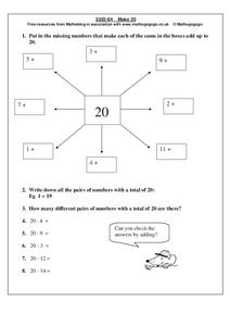 Make 20 Worksheet