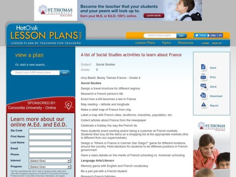 A list of Social Studies activities to learn about France Lesson Plan