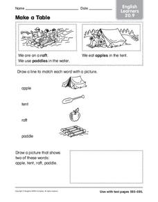 Make a Table: English Learners Worksheet