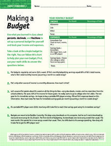 Making a Budget Worksheet