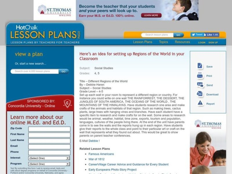 Different Regions of the World Lesson Plan