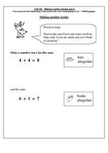 Making Number Stories Worksheet