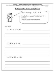 Making number stories - multiplication Worksheet