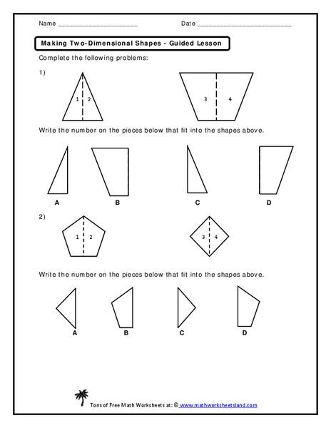 Making Two-Dimensional Shapes Worksheet for Kindergarten