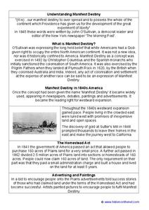 Manifest Destiny Worksheet