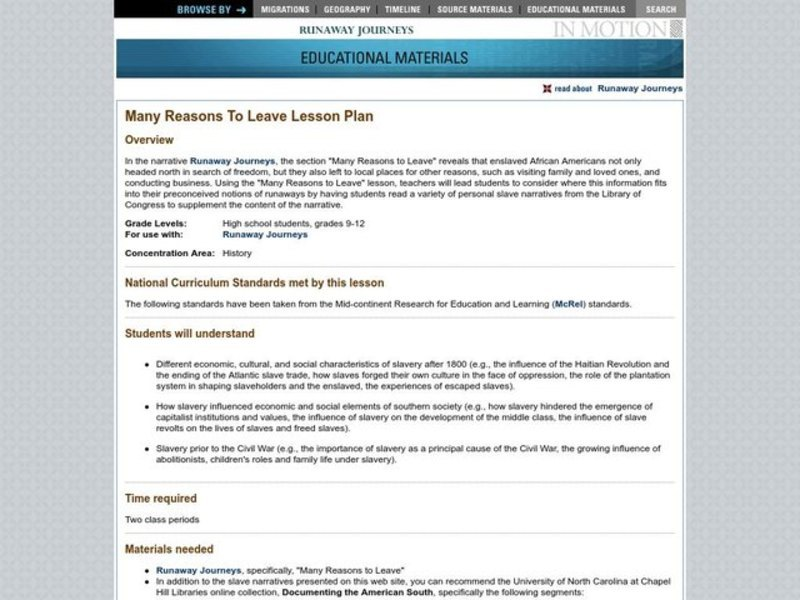 Many Reasons To Leave Lesson Plan