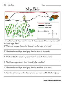 Map Skills Worksheet For 2nd 3rd Grade Lesson Planet First Grade Map Skills Worksheets Map Skills Worksheet