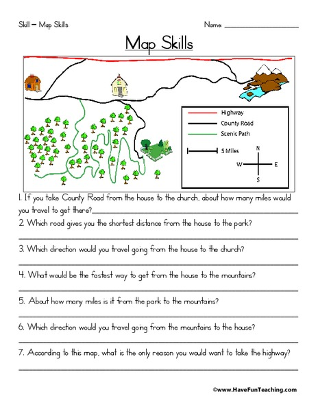 Map Skills Worksheet for 2nd - 3rd Grade   Lesson Planet