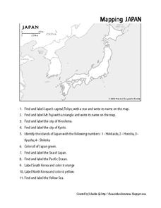Mapping Japan Worksheet for 3rd - 8th Grade | Lesson Planet
