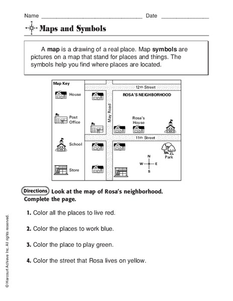 Maps And Symbols Worksheet For 1st 3rd Grade Lesson Planet
