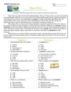 marco polo worksheet for 3rd 4th grade lesson planet. Black Bedroom Furniture Sets. Home Design Ideas