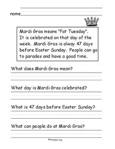 Mardi Gras Worksheet