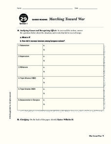 Marching Toward War Worksheet