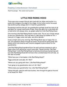 Little Red Riding Hood Worksheet For 5th Grade Lesson Planet