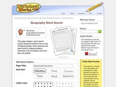 Massachusetts Word Search Worksheet
