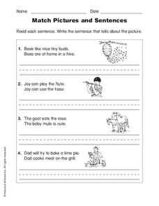 Match Pictures and Sentences Worksheet