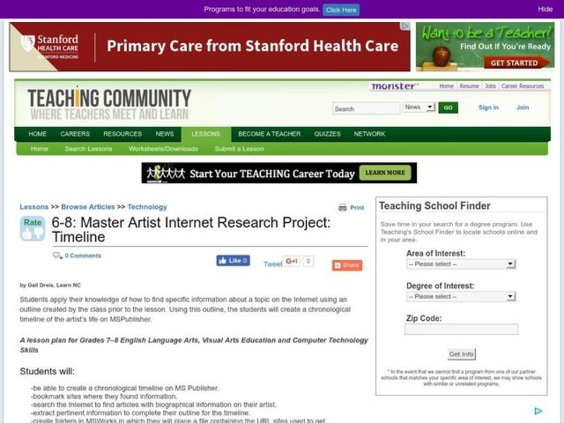 master artist internet research project timeline lesson plan for