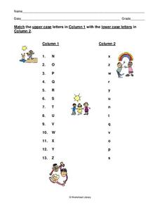 Matching Upper and Lower Case Letters Worksheet