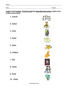 Matching Words to Pictures Worksheet