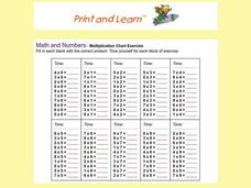 Math and Numbers - Multiplication Chart Exercise Worksheet