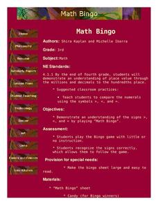 Math Bingo Lesson Plan