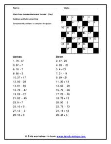 Math Cross Number Version 9 Worksheet