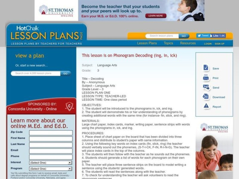 Phonogram Decoding (ing, in, ick) Lesson Plan