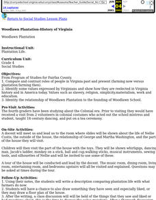 Woodlawn Plantation Lesson Plan