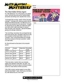 Math Maven's Mysteries Worksheet