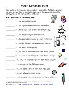 Math Scavenger Hunt Lesson Plan