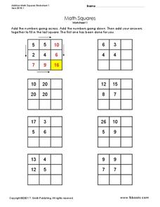 Math Squares Graphic Organizer