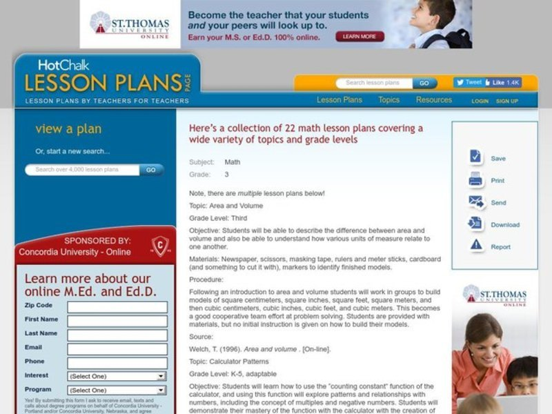 A Collection of 22 Math Lesson Plans covering a wide variety of topics Lesson Plan