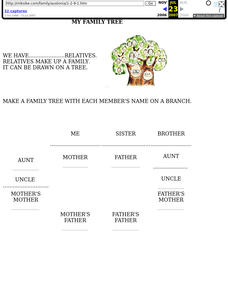 My Family Tree - Worksheet Lesson Plan