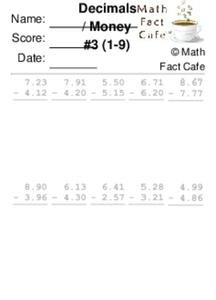 Math: Decimals / Money #3 (1-9) Worksheet