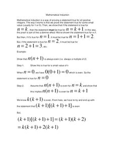 Mathematical Induction Worksheet