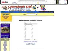 Math Worksheets- Fractions to Decimals Lesson Plan