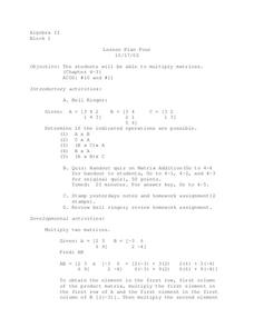 Matrix Multiplication Lesson Plan