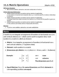 Matrix Operations Worksheet