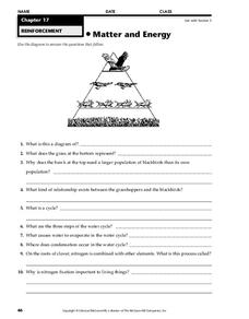 Matter and Energy Worksheet