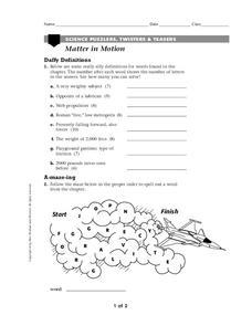Matter In Motion Worksheet