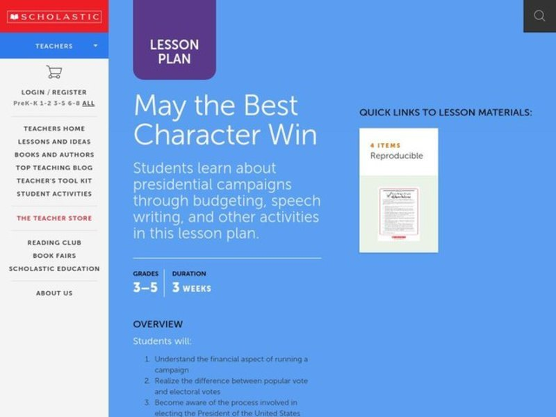May the Best Character Win Lesson Plan