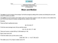 Mean and Median Worksheet