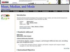 Mean, Median, and Mode Lesson Plan